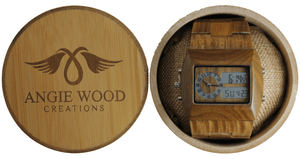 Angiewoodcreations Wood watch Not engrave on back watch Green Sandalwood Digital watch