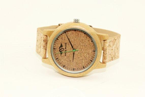 Angiewoodcreations Wood watch Not engraved Angie Wood Cork Wood Watch,Personalized watch,Cork watch W158