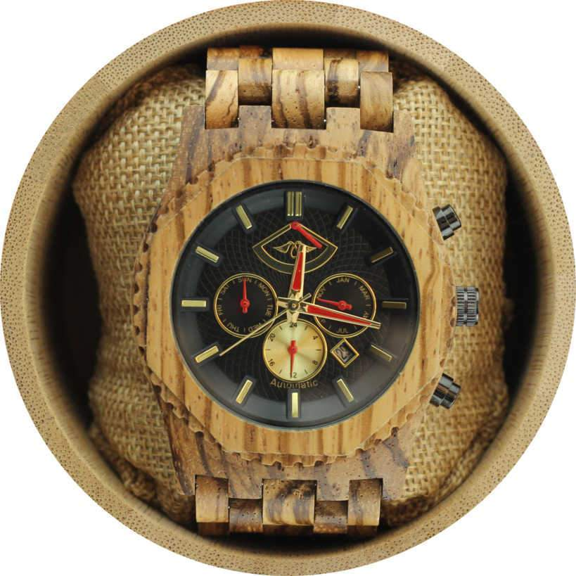 Angie Wood Creations Automatic Zebrawood Men's Watch with Red Hands and Zebrawood Band