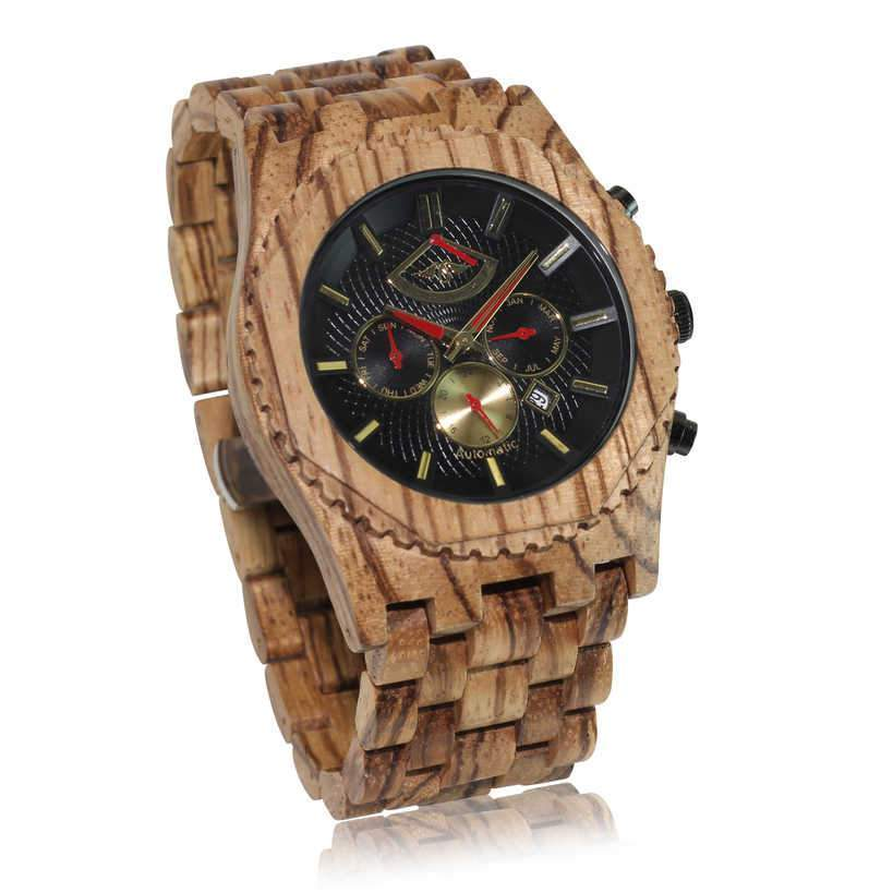 angiewoodcreations Wood watch Not engraved Angie Wood Creations Automatic Zebrawood Men's Watch with Red Hands and Zebrawood Band