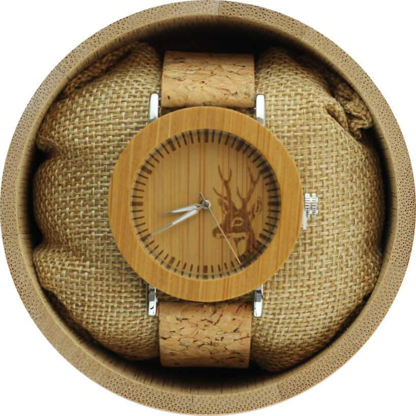 Angie Wood Creations Bamboo and Steel Women's Watch With Cork Strap