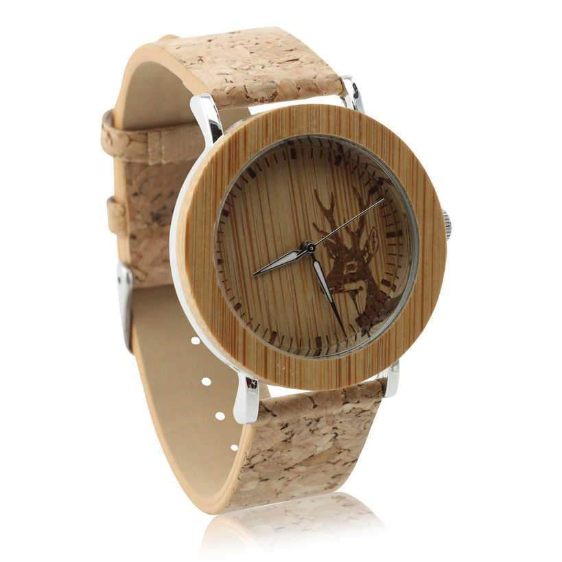 Angiewoodcreations Woman Wooden watch Not engraved Angie Wood Creations Bamboo and Steel Women's Watch With Cork Strap