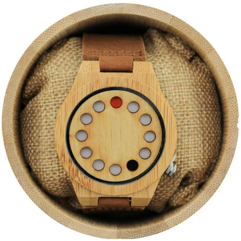 Angie Wood Creations Bamboo Men's Dotted Watch with Brown Leather Strap