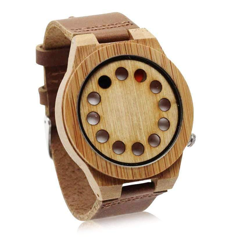 Angiewoodcreations Wood watch Not engraved Angie Wood Creations Bamboo Men's Dotted Watch with Brown Leather Strap