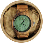Angie Wood Creations Bamboo Men's Watch with Bamboo Bracelet and Green Dial