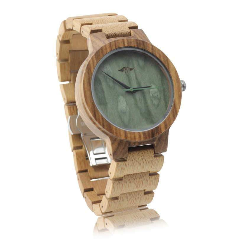 Angiewoodcreations Wood watch Not engraved Angie Wood Creations Bamboo Men's Watch With Bamboo Bracelet and Green Dial