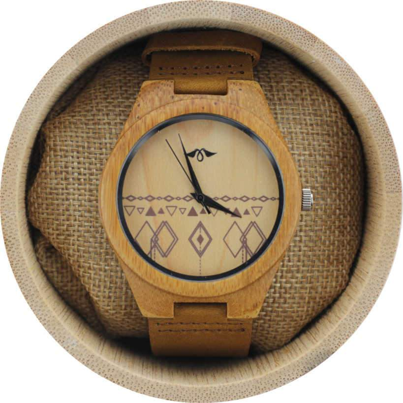 Angie Wood Creations Bamboo Men's Watch With Bamboo Dial and Aztec Design