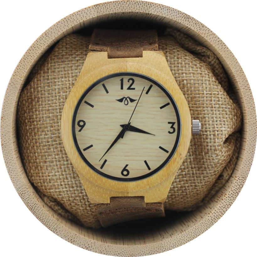Angie Wood Creations Bamboo Men's Watch With Bamboo Dial and Leather Strap