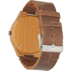 Angiewoodcreations Wood watch Not engraved Angie Wood Creations Bamboo Men's Watch With Bamboo Dial and Leather Strap