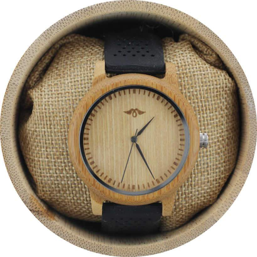 Angie Wood Creations Bamboo Men's Watch with Black Silicone Strap and Bamboo Dial