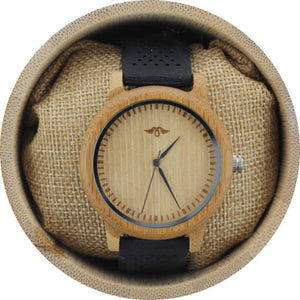 angiewoodcreations men wood watches Not engraved Angie Wood Creations Bamboo Men's Watch with Black Silicone Strap and Bamboo Dial