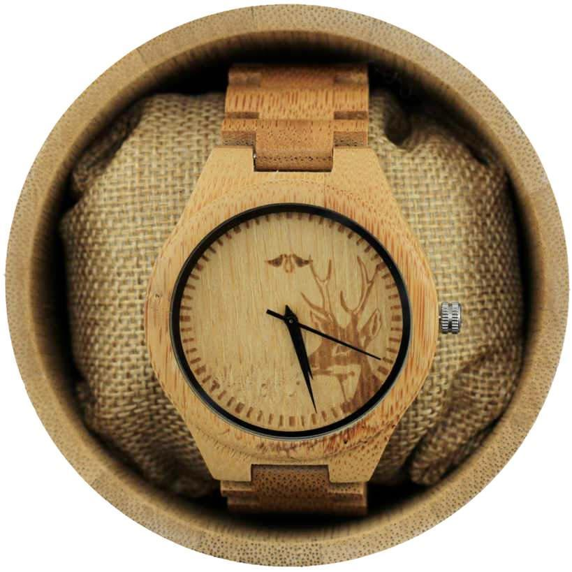 Angie Wood Creations Bamboo Men's Watch With Deer Engraving and Bamboo Bracelet