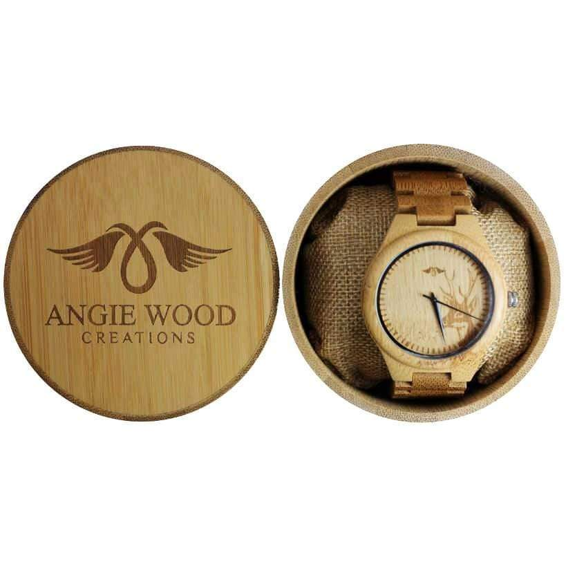 Angiewoodcreations Wood watch Not engraved Angie Wood Creations Bamboo Men's Watch With Deer Engraving and Bamboo Bracelet