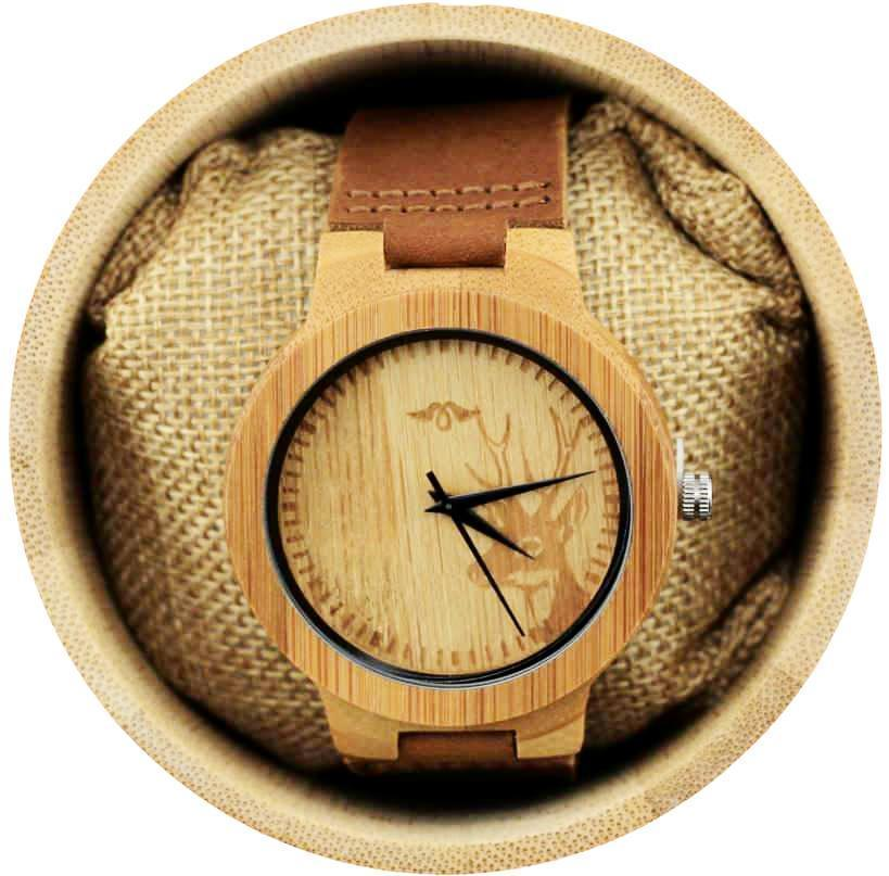Angie Wood Creations Bamboo Men's Watch With Deer Engraving and Leather Strap