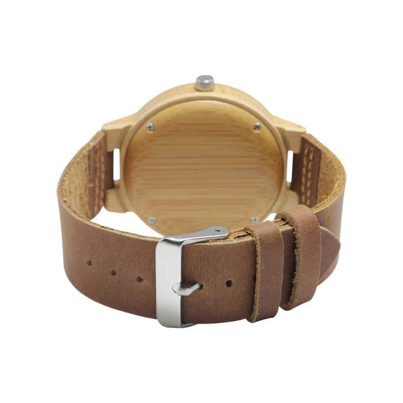 Angiewoodcreations Wood watch Not engraved Angie Wood Creations Bamboo Men's Watch With Deer Engraving and Leather Strap