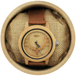 Angie Wood Creations Bamboo Men's Watch with Laser-cut Antlers