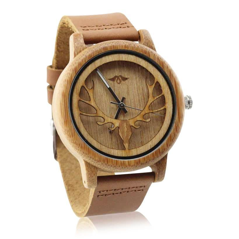 Angiewoodcreations Wood watch Not engraved Angie Wood Creations Bamboo Men's Watch With Laser-cut Antlers