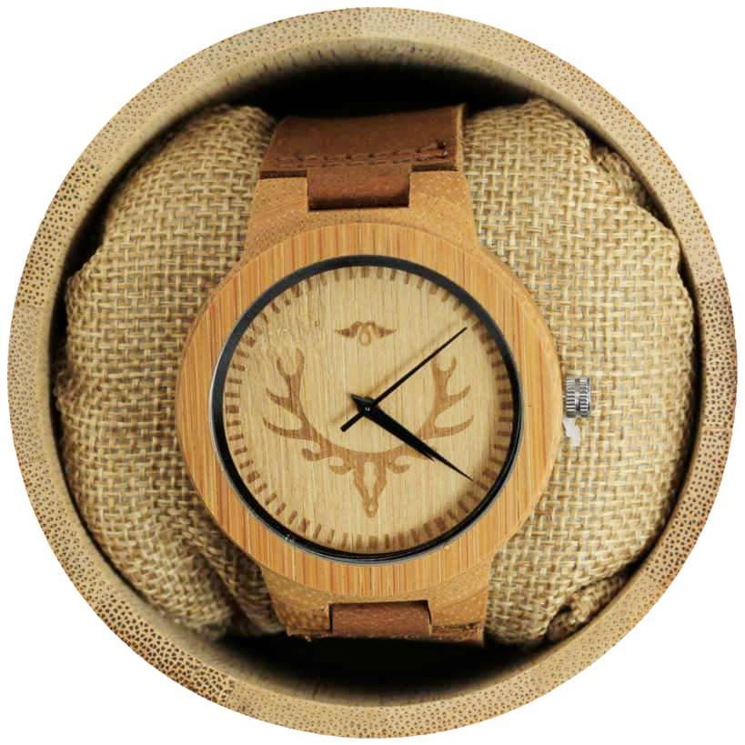 Angie Wood Creations Bamboo Men's Watch With Laser Engraved Caribou Skull