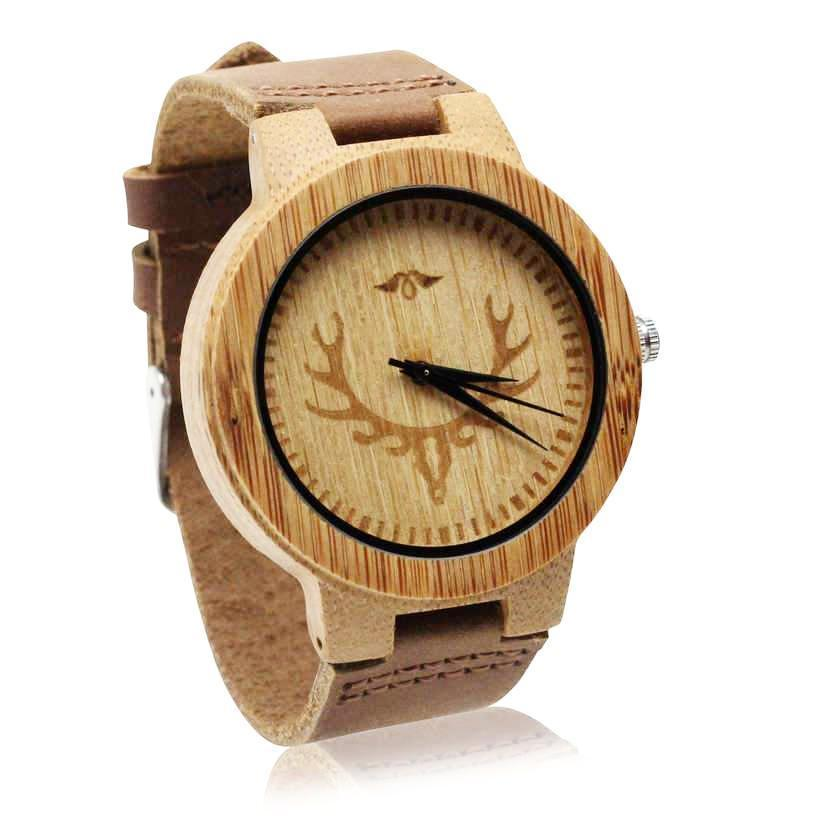 Angiewoodcreations Wood watch Not engraved Angie Wood Creations Bamboo Men's Watch With Laser Engraved Caribou Skull