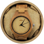 Angie Wood Creations Bamboo Men's Watch With Laser Engraved Dial and Black Hands