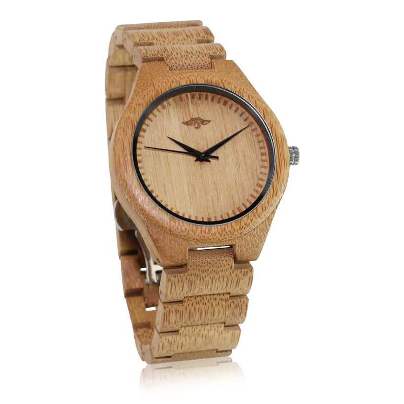 Angiewoodcreations Wood watch Not engraved Angie Wood Creations Bamboo Men's Watch With Laser Engraved Dial and Black Hands