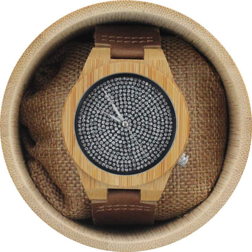Angie Wood Creations Bamboo Men's Watch with Leather Strap and Patterned Dial