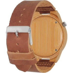 Angiewoodcreations Wood watch Not engraved Angie Wood Creations Bamboo Men's Watch with Leather Strap and Patterned Dial