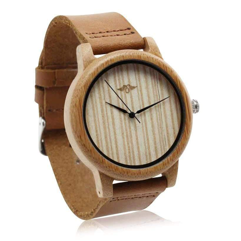Angiewoodcreations Wood watch Not engraved Angie Wood Creations Bamboo Men's Watch With Leather Strap
