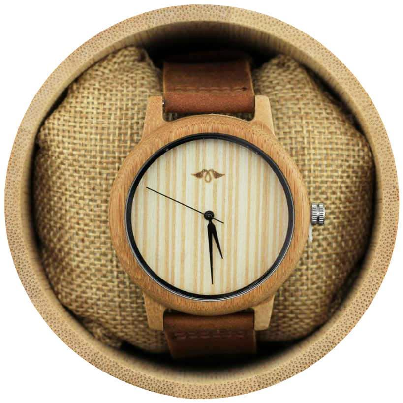 Angie Wood Creations Bamboo Men's Watch with Leather Strap