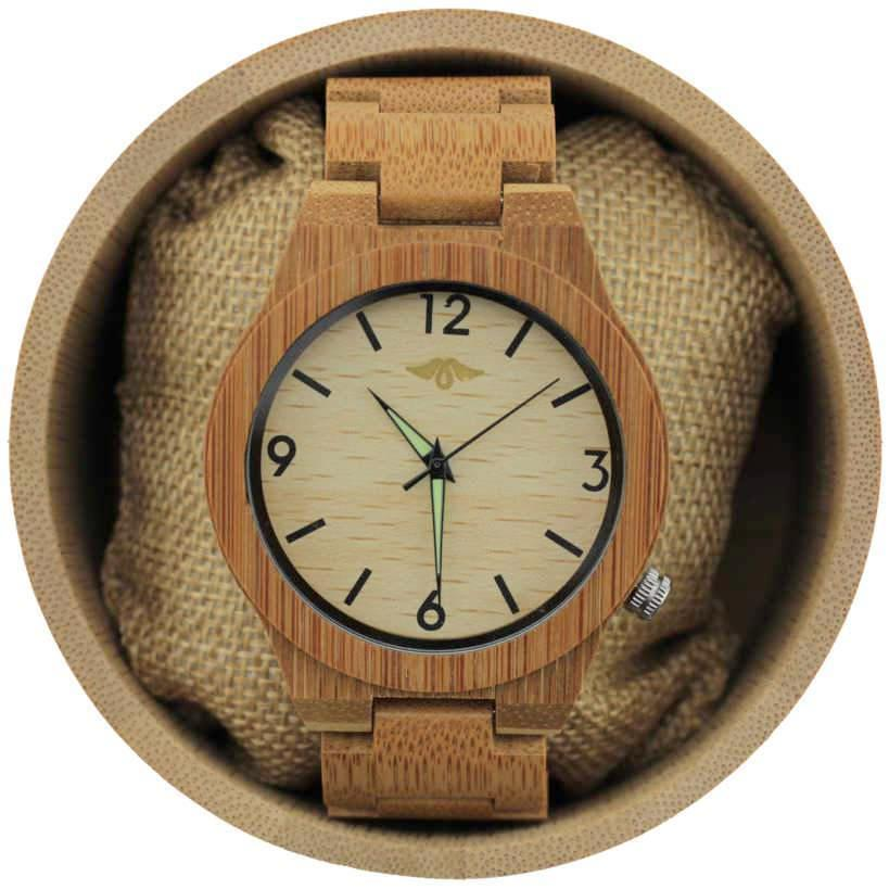 Angiewoodcreations Wood watch Not engraved Angie Wood Creations Bamboo Men's Watch with Pale Bamboo Dial