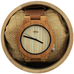 Angie Wood Creations Bamboo Men's Watch with Striped Bamboo Dial and Black Hands
