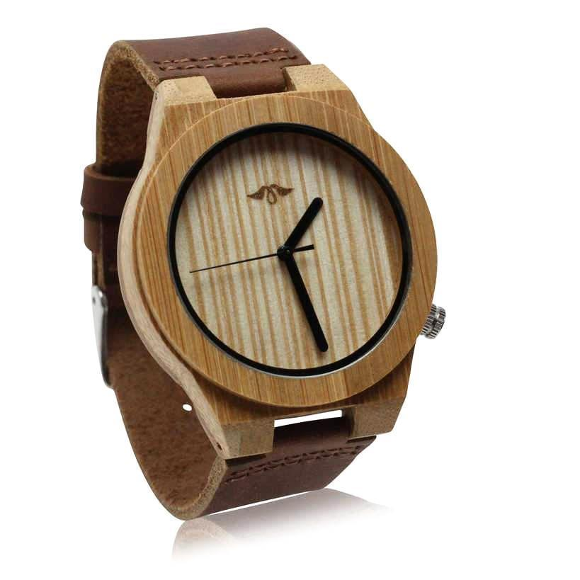 Angiewoodcreations Wood watch Not engraved Angie Wood Creations Bamboo Men's Watch With Striped Bamboo Dial and Black Hands