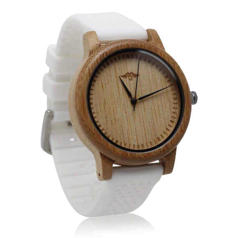 angiewoodcreations men wood watches Not engraved Angie Wood Creations Bamboo Men's Watch with White Silicone Strap and Bamboo Dial
