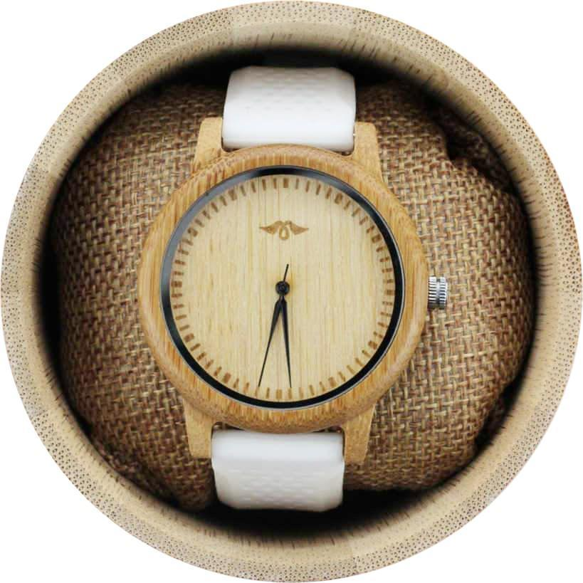 Angie Wood Creations Bamboo Men's Watch with White Silicone Strap and Bamboo Dial