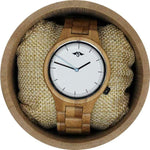 Angie Wood Creations Bamboo Unisex Watch With Bamboo Bracelet and White Dial