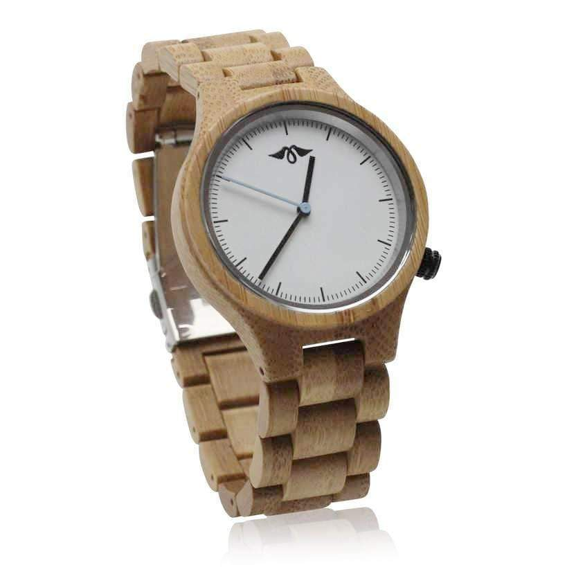 angiewoodcreations Wood watch Not engraved Angie Wood Creations Bamboo Unisex Watch With Bamboo Bracelet and White Dial