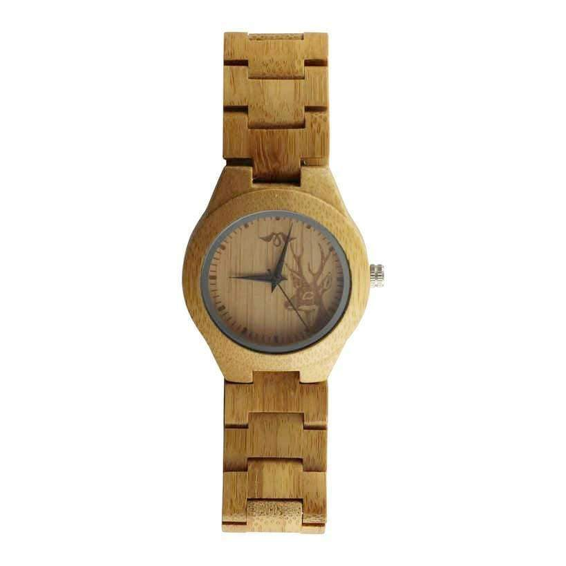 Angiewoodcreations Woman Wooden watch Not engraved Angie Wood Creations Bamboo Women's Watch With Bamboo Bracelet and Deer Image