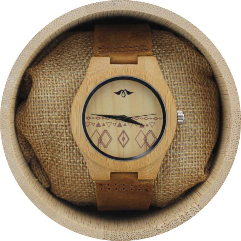 Angie Wood Creations Bamboo Women's Watch With Bamboo Dial and Aztec Design
