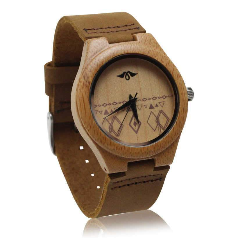 Angiewoodcreations Woman Wooden watch Not engraved Angie Wood Creations Bamboo Women's Watch With Bamboo Dial and Aztec Design
