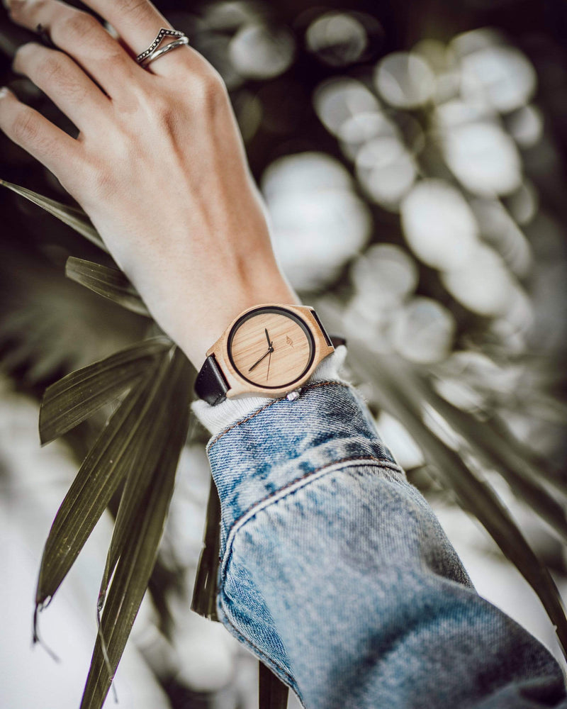 Angiewoodcreations Woman Wooden watch Not engraved Angie Wood Creations Bamboo Women's Watch with Black Hands and Leather Strap