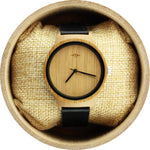 Angie Wood Creations Bamboo Women's Watch with Black Hands and Leather Strap