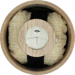 Angie Wood Creations Bamboo Women's Watch With Black Leather Strap