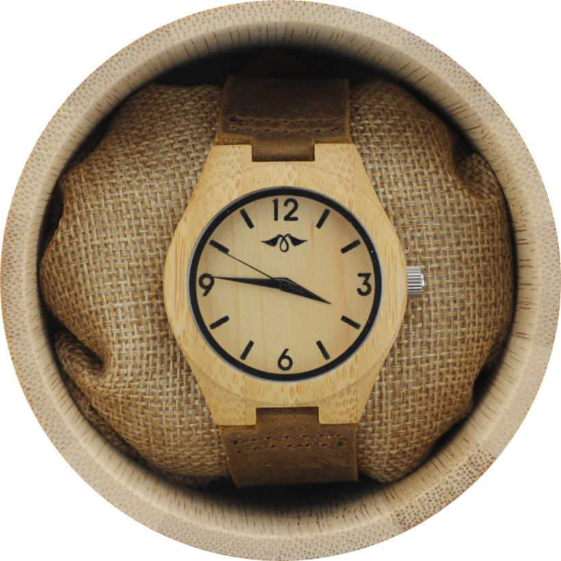 Angie Wood Creations Bamboo Women's Watch With Brown Leather Strap