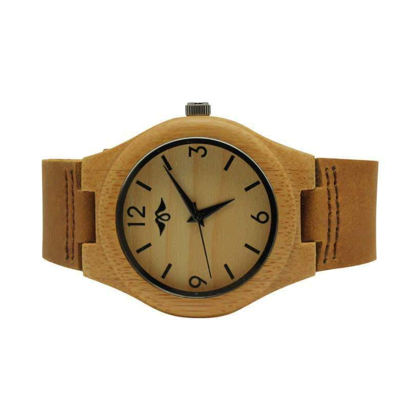 Angiewoodcreations Woman Wooden watch Not engraved Angie Wood Creations Bamboo Women's Watch With Brown Leather Strap