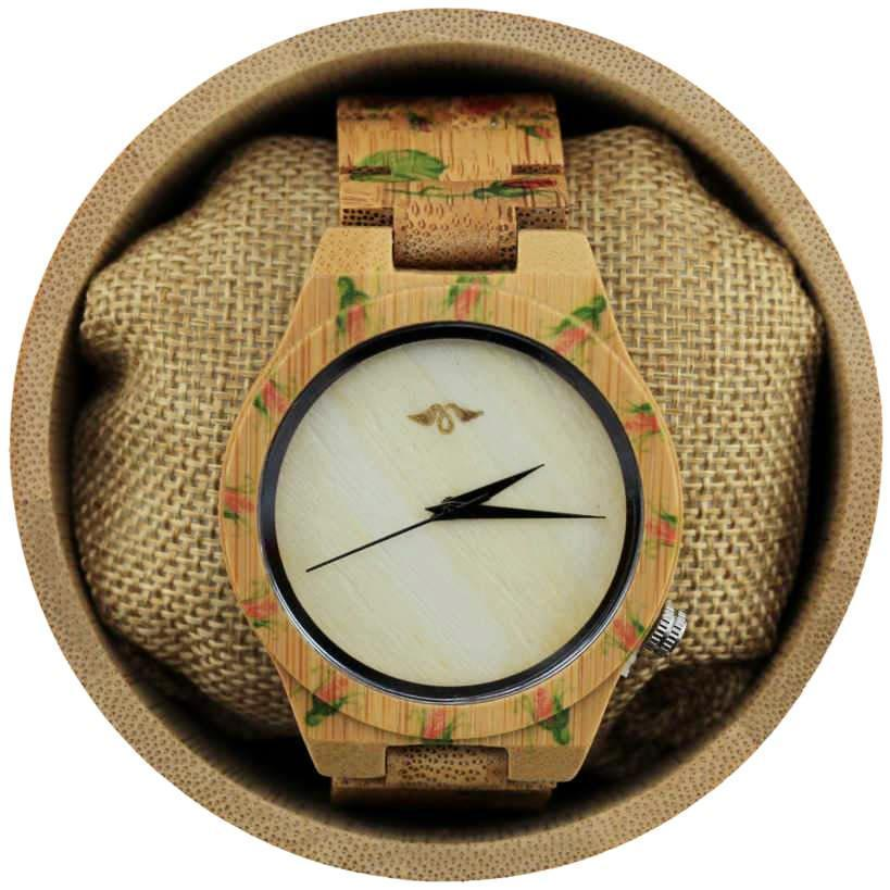 Angie Wood Creations Bamboo Women's Watch with Handpainted Flowers