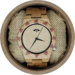 Angie Wood Creations Bamboo Women's Watch With Rose Design and Bamboo Dial