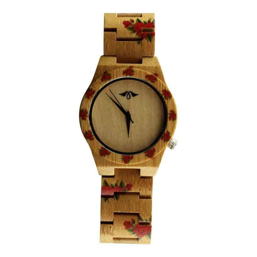 Angiewoodcreations Woman Wooden watch Not engraved Angie Wood Creations Bamboo Women's Watch With Rose Design and Bamboo Dial