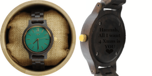 Angiewoodcreations Woman Wooden watch Not engraved Angie Wood Creations Black Sandalwood Women's Watch With Emerald Green Dial