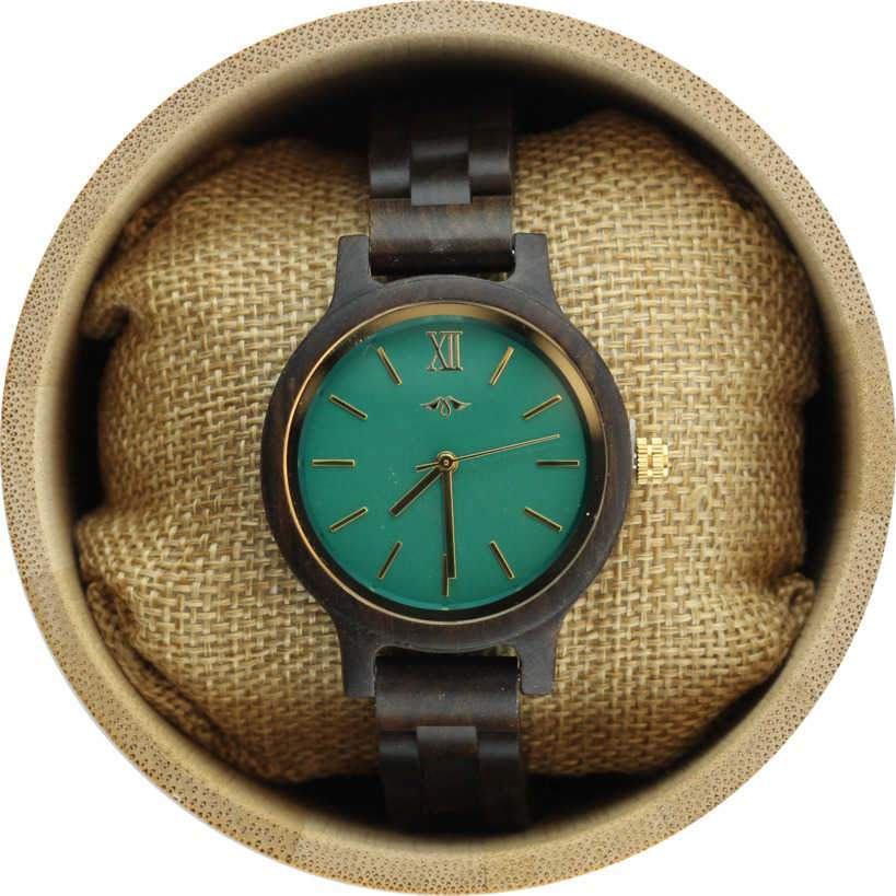 Angie Wood Creations Black Sandalwood Women's Watch with Emerald Green Dial