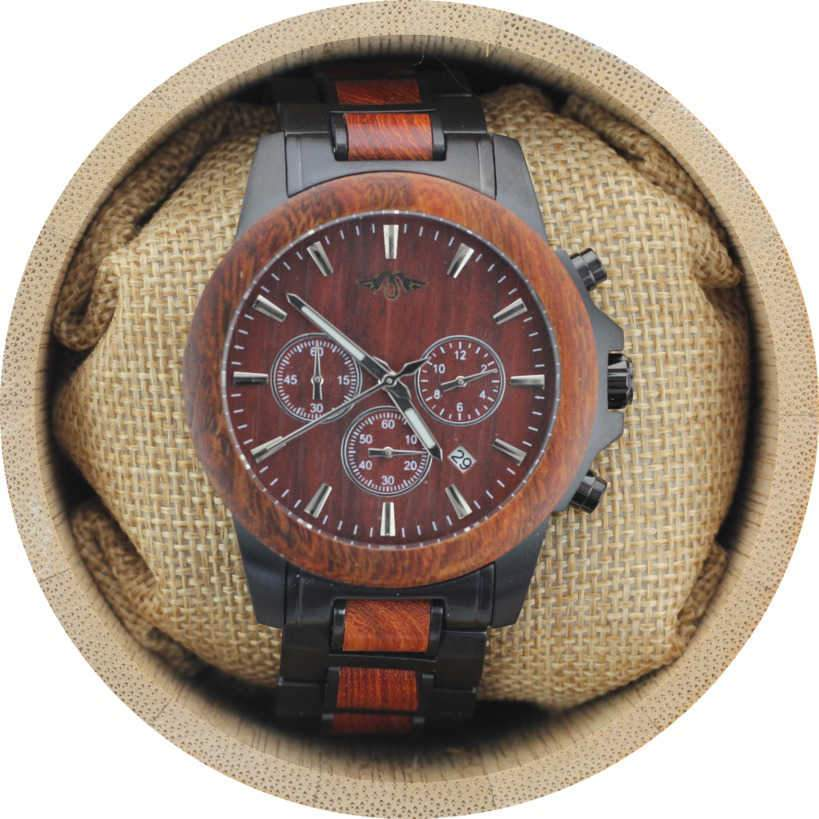 Angie Wood Creations Black Stainless Steel and Red Sandalwood Men's Watch